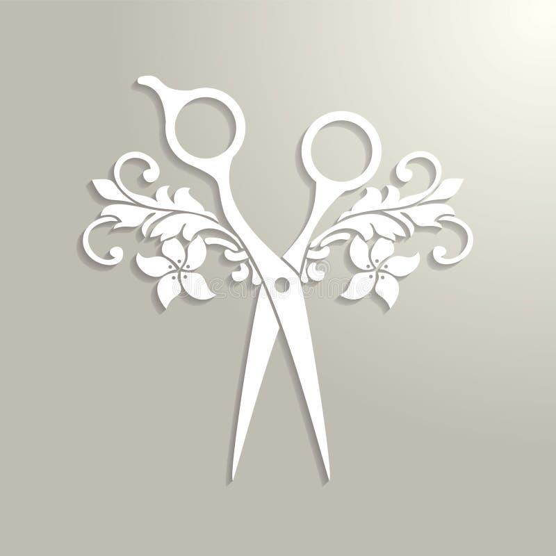 El logotipo del salón de pelo con blanco scissor stock de ilustración
