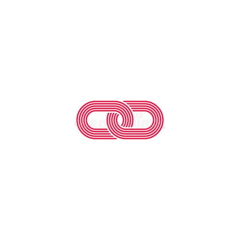El logotipo del vínculo, símbolo abstracto del infinito de las alambradas de la intersección, emblema de la comunicación de los m stock de ilustración