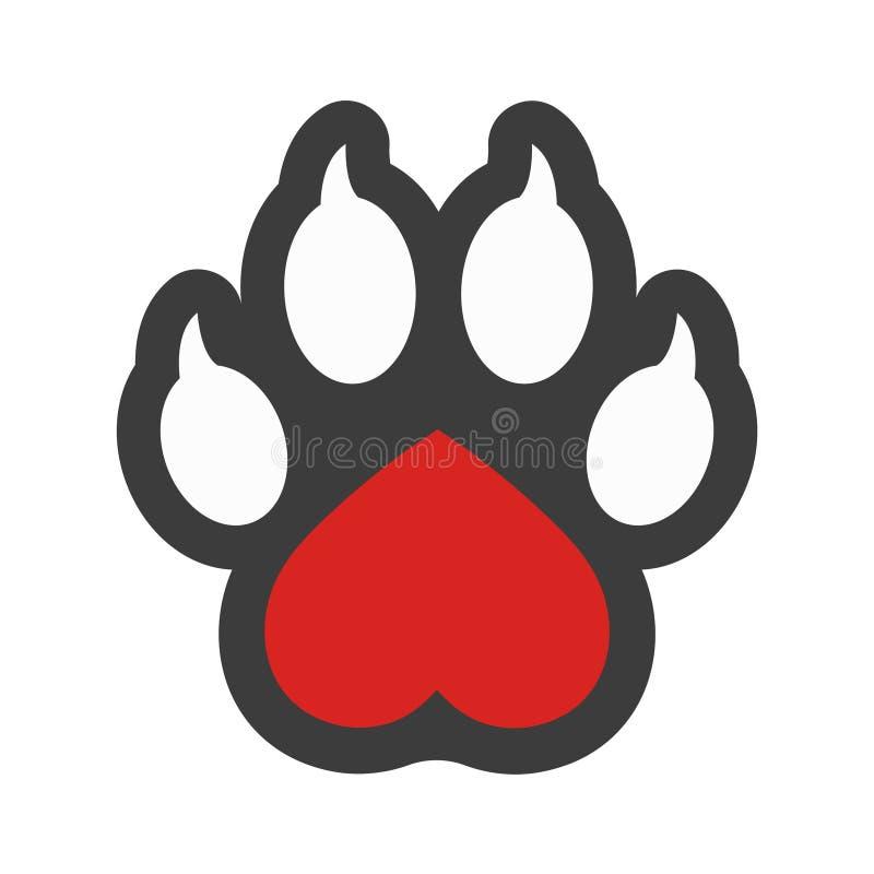 El logotipo del vector, el corazón y la pata aislados clínica veterinaria del perro imprimen ilustración del vector