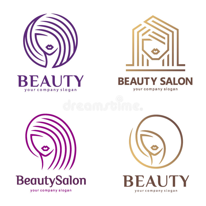 El logotipo del vector fijó para el salón de belleza, salón de pelo, cosmético stock de ilustración