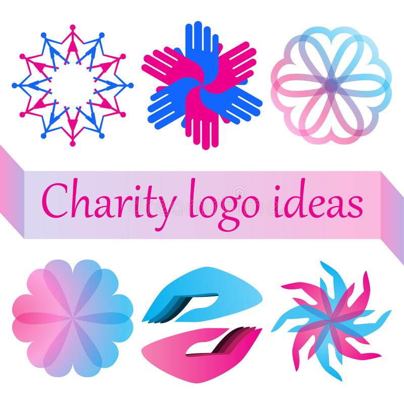 El logotipo del vector fijó para la caridad, la salud, el voluntario o la organización sin ánimo de lucro stock de ilustración