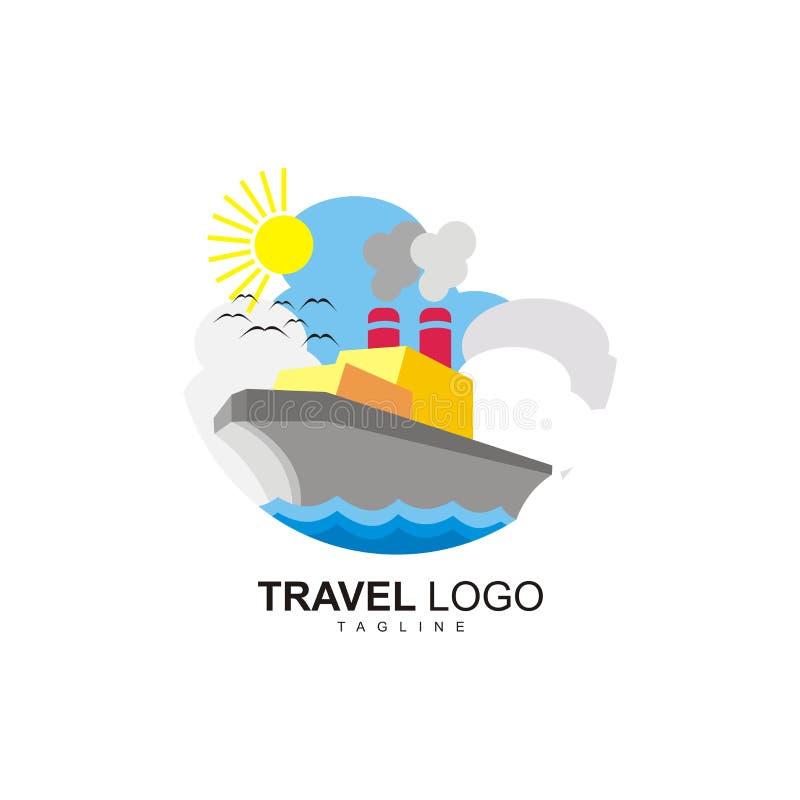 El logotipo del viaje con una nave y una vista de un día soleado en el océano imágenes de archivo libres de regalías