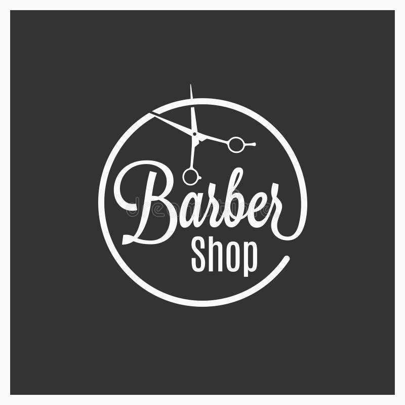 El logotipo del vintage de la barbería con el peluquero scissors en fondo negro ilustración del vector