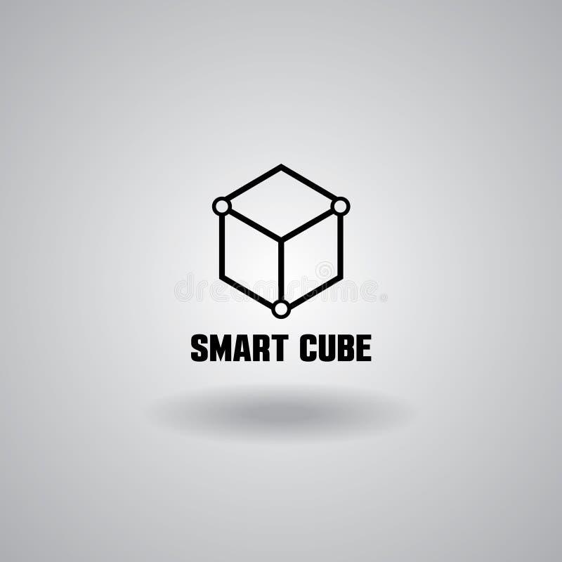 El logotipo, el ordenador y los datos elegantes del cubo de la tecnología relacionaron negocio, de alta tecnología e innovador ilustración del vector