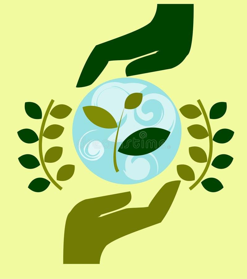 El logotipo, emblema de la protección de naturaleza, ecología, toma el cuidado de la naturaleza, las manos humanas protege la nat ilustración del vector