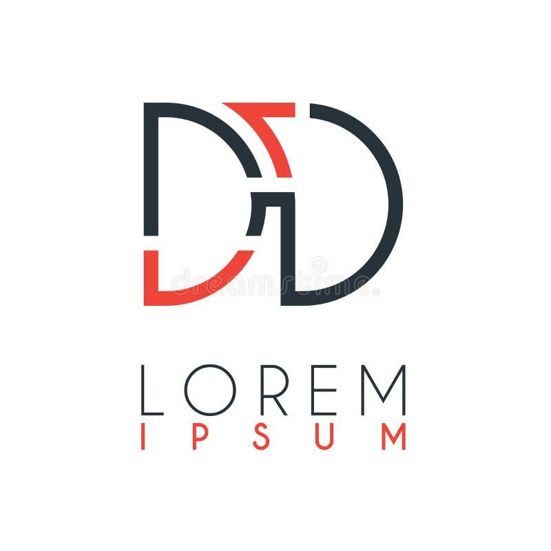 El logotipo entre la letra D y la letra D o DD con cierta distancia y conectada por color anaranjado y gris ilustración del vector