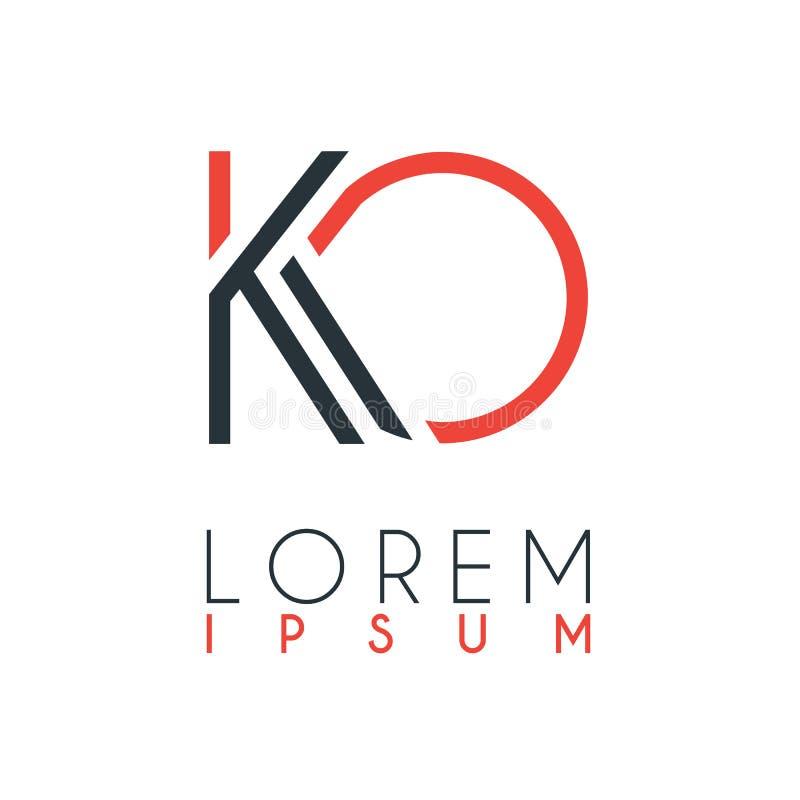 El logotipo entre la letra K y letra O o knock-out con cierta distancia y conectado por color anaranjado y gris libre illustration