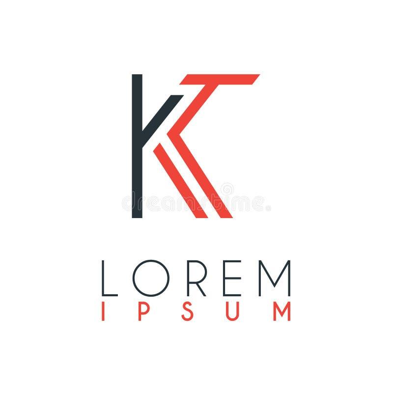 El logotipo entre la letra K y la letra T o KT con cierta distancia y conectado por color anaranjado y gris stock de ilustración