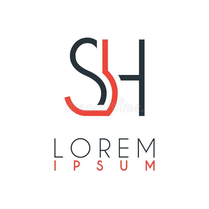 El logotipo entre la letra S y la letra H o SH con cierta distancia y haber conectado por color anaranjado y gris ilustración del vector