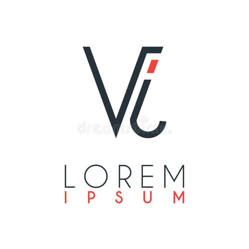 El logotipo entre la letra V y la letra J o VJ con cierta distancia y conectado por color anaranjado y gris stock de ilustración