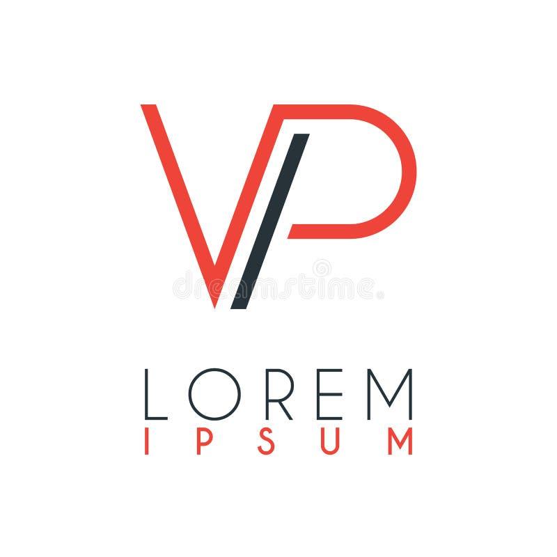 El logotipo entre la letra V y la letra P o VP con cierta distancia y conectado por color anaranjado y gris ilustración del vector