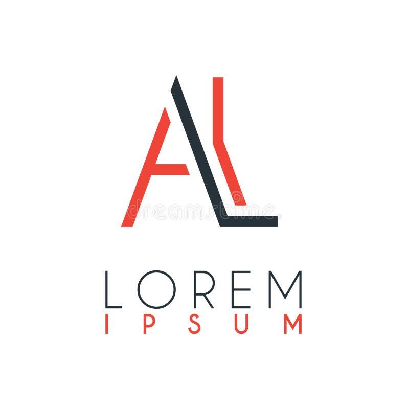 El logotipo entre la letra A y letra L o AL con cierta distancia y conectado por color anaranjado y gris ilustración del vector