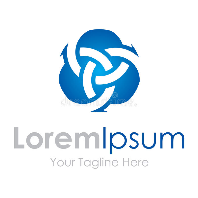 El logotipo extraño abstracto circunda negocio azul de los iconos del elemento stock de ilustración