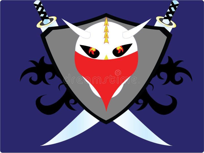 El logotipo fresco del cráneo stock de ilustración