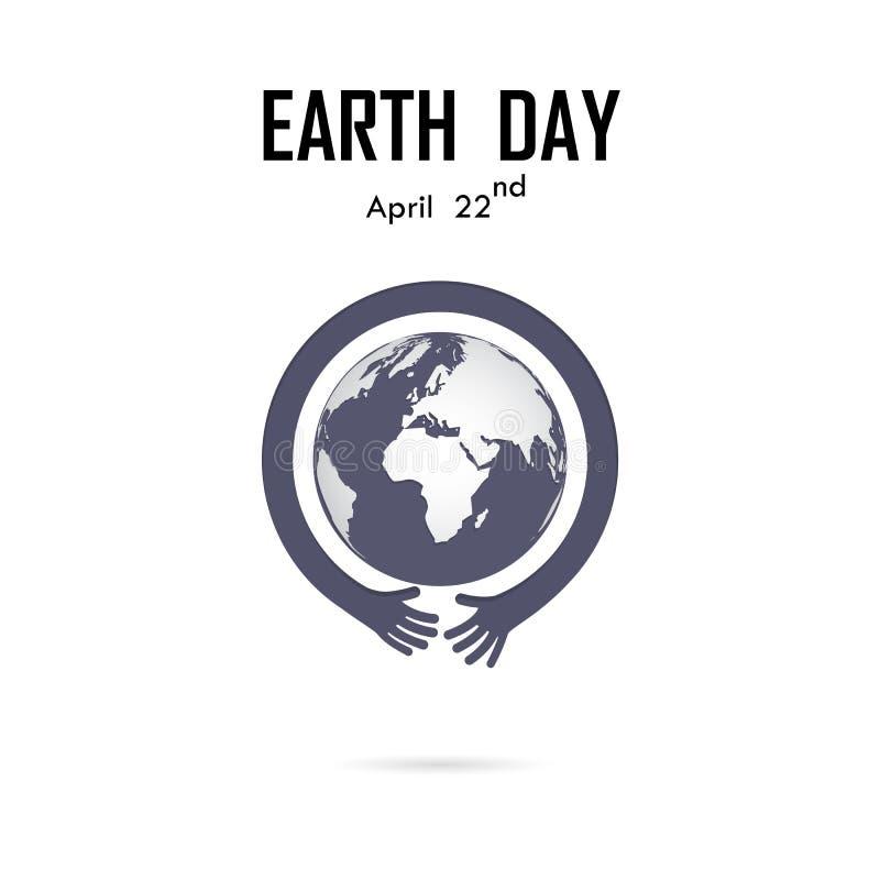 El logotipo humano del vector del icono de la mano y del globo diseña la plantilla Día de tierra ilustración del vector