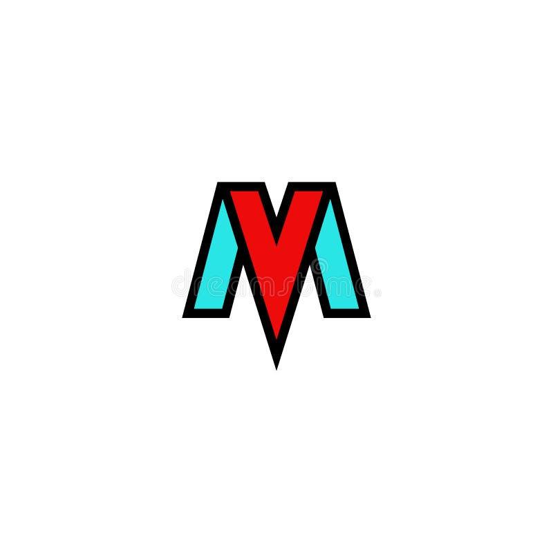 El logotipo milivoltio pone letras al emblema plano elegante, a las iniciales M de la tecnología de la combinación y construcción stock de ilustración