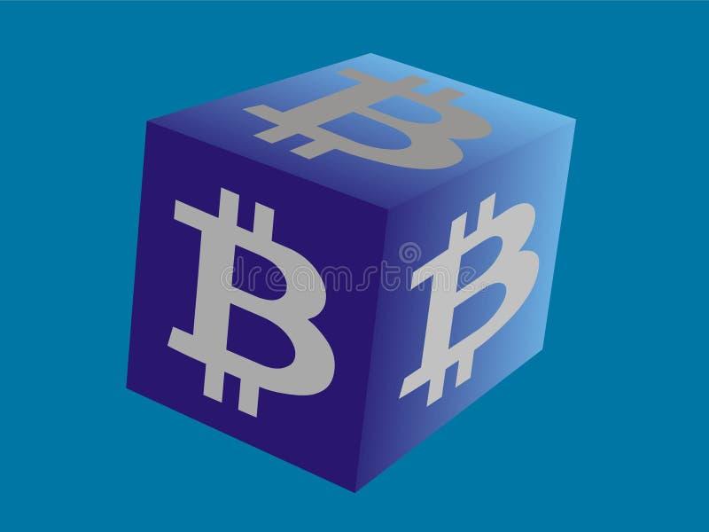 El logotipo para Bitcoin relacionó negocio en el cubo ilustración del vector