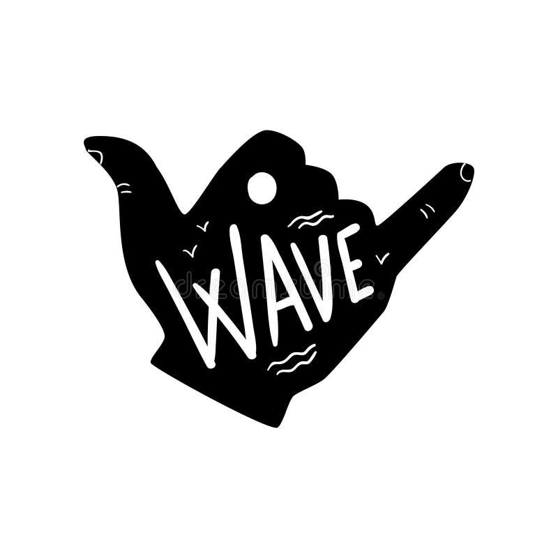 El logotipo que practica surf, elemento dibujado mano del diseño de la muestra de la mano del shaka se puede utilizar para el clu stock de ilustración
