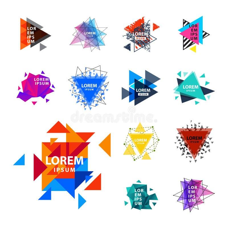 El logotipo sagrado del extracto del triángulo de la geometría figura el ejemplo creativo del vector del triangulum del polígono  stock de ilustración