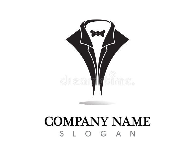 El logotipo y los símbolos del hombre del smoking ennegrecen la plantilla de los iconos stock de ilustración