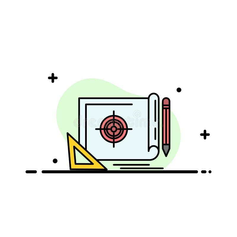 El logro, fichero, blanco del fichero, márketing, línea plana del negocio de la blanco llenó la plantilla de la bandera del vecto ilustración del vector