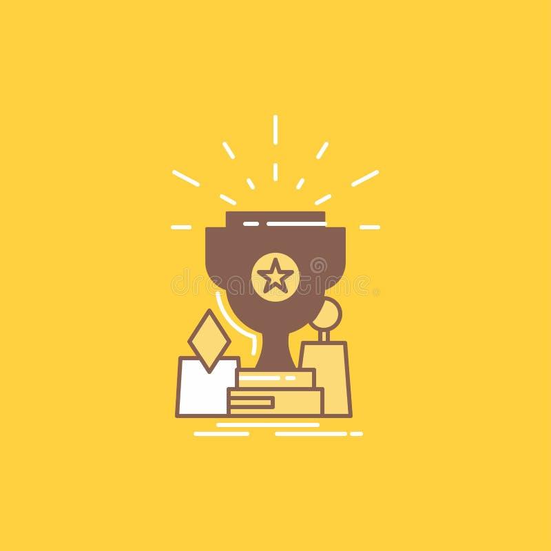 El logro, premio, taza, premio, línea plana del trofeo llenó el icono Bot?n hermoso del logotipo sobre el fondo amarillo para UI  ilustración del vector