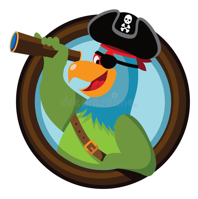 El loro del pirata de la historieta mira fuera de la porta ilustración del vector