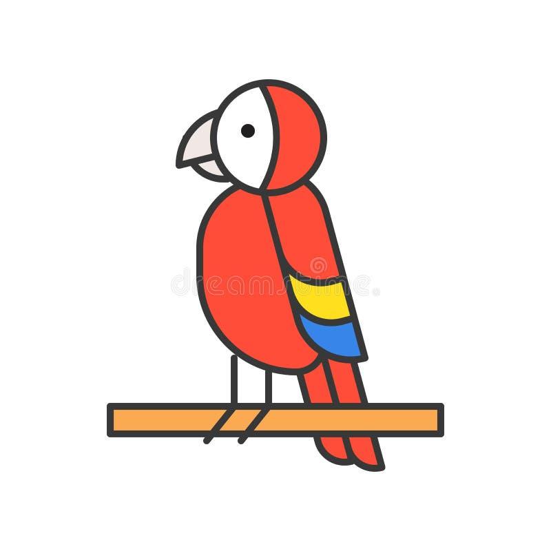 El loro, icono animal salvaje fijado, llenó diseño del esquema stock de ilustración