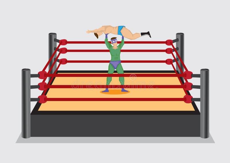 El luchador levanta para arriba al opositor en la lucha de Ring Vector Cartoon Illu ilustración del vector