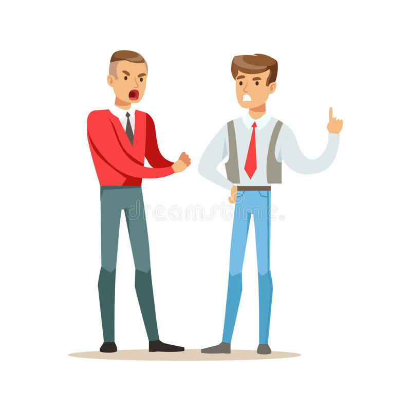 El luchar de dos hombres jovenes enojado y grito en uno a, ejemplo negativo del vector del concepto de las emociones ilustración del vector