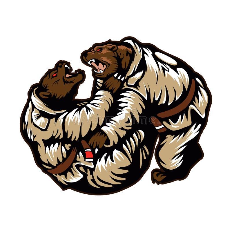 El luchar de dos osos ilustración del vector