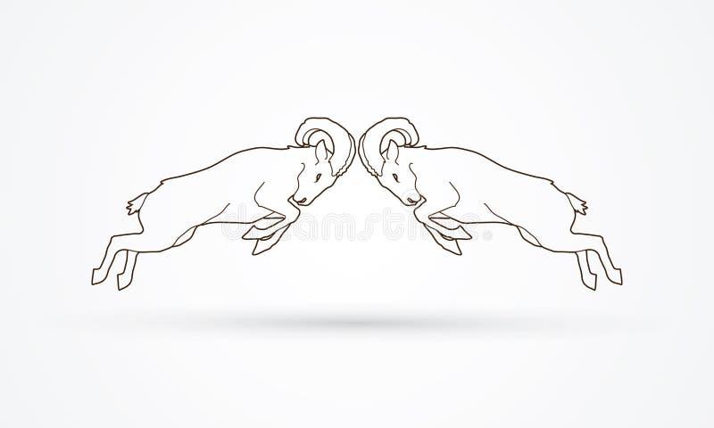 El luchar de los cabras monteses libre illustration