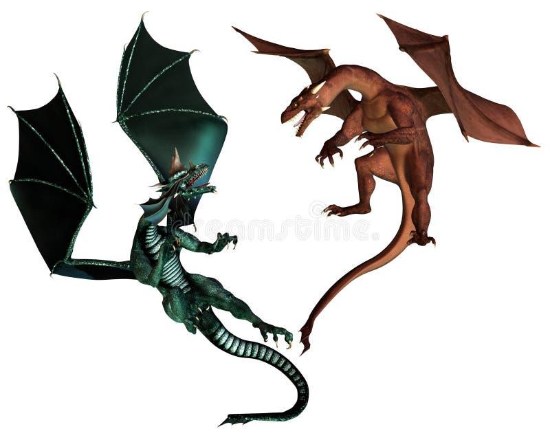 El luchar de los dragones rojos y verdes ilustración del vector