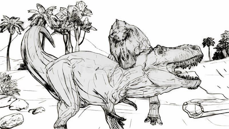 El luchar del rex del tiranosaurio ilustración del vector