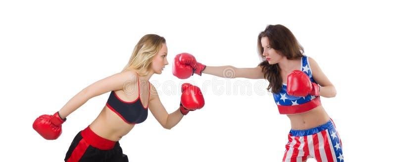 El luchar femenino de dos boxeadores aislado en blanco fotos de archivo