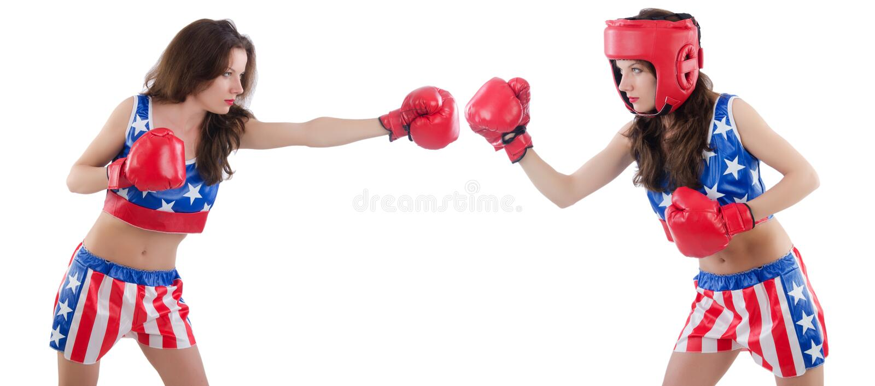 El luchar femenino de dos boxeadores aislado en blanco fotografía de archivo
