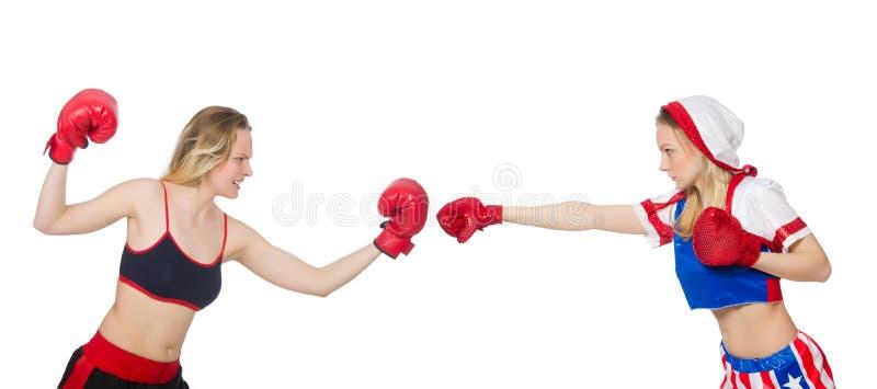 El luchar femenino de dos boxeadores aislado en blanco imagen de archivo libre de regalías