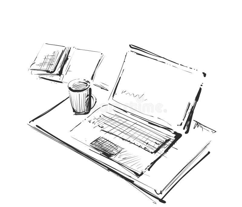 El lugar de trabajo con el ordenador portátil, el cuaderno, la tableta y la taza de café vector el ejemplo exhausto ilustración del vector