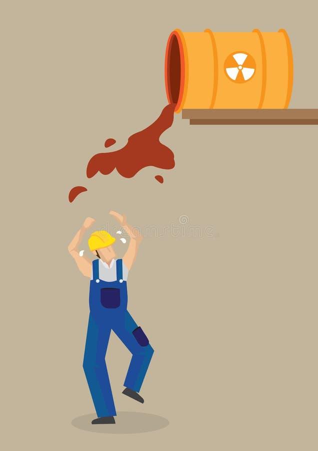 El lugar de trabajo industrial del derramamiento radiactivo aventura el vector Illustrati stock de ilustración