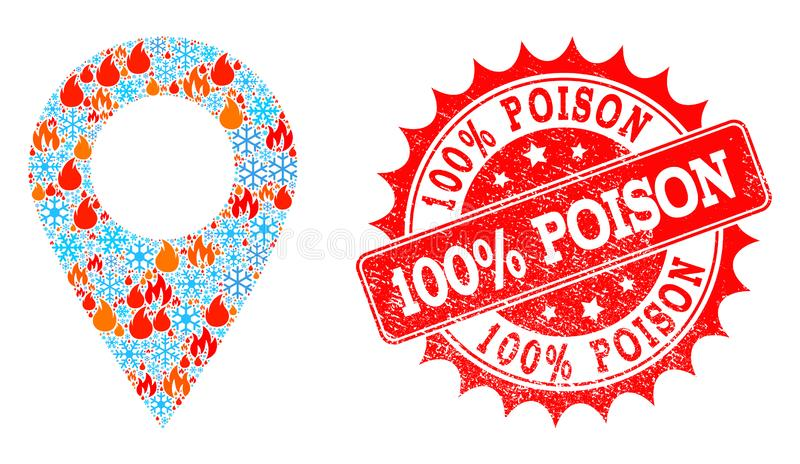 El lugar local del collage del fuego y los copos de nieve y el 100 por ciento envenenan el sello de la desolación ilustración del vector