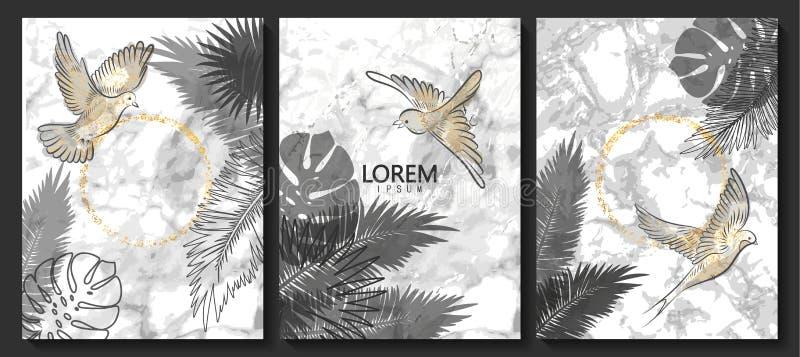 El lujo carda la colección con la textura de mármol, los pájaros y las hojas tropicales Fondo de moda del vector Sistema moderno  stock de ilustración