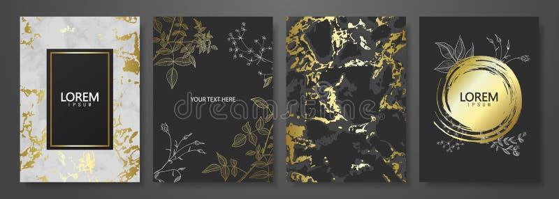 El lujo carda la colección con la textura de oro de mármol y las plantas a mano Fondo de moda del vector Sistema moderno de la ta libre illustration