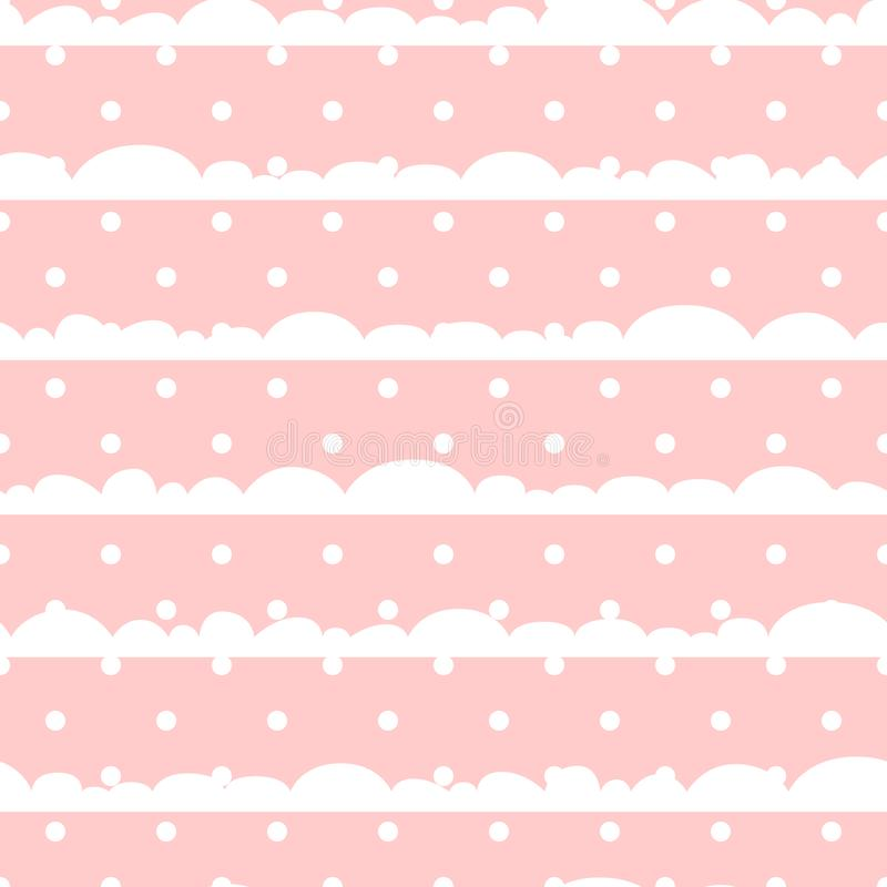 El lunar rosado y blanco se nubla el modelo inconsútil del vector del bebé stock de ilustración