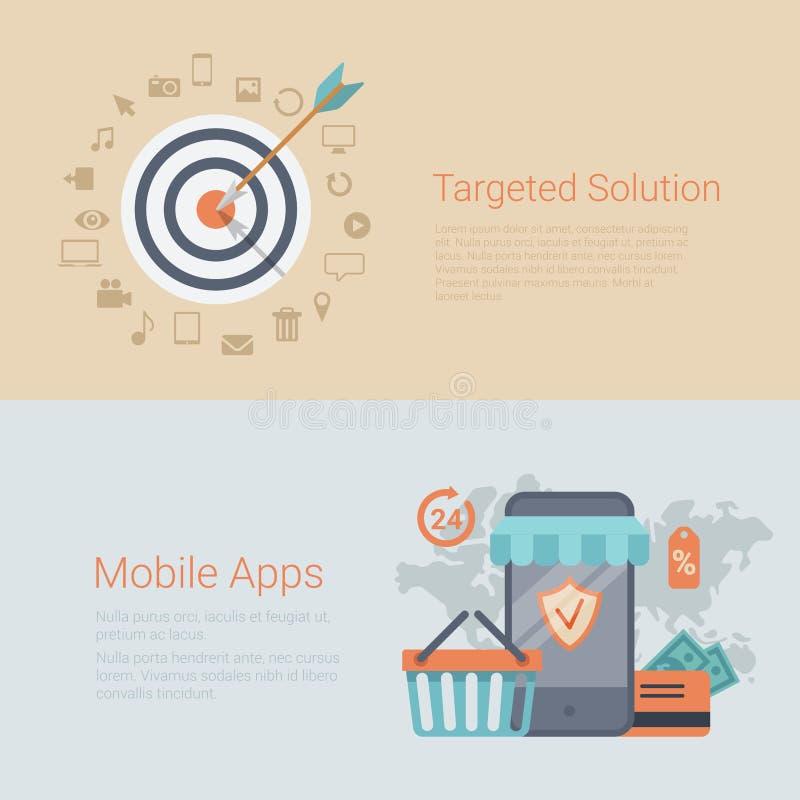 El márketing apuntó el resbalador plano de la bandera del infographics de los apps móviles ilustración del vector