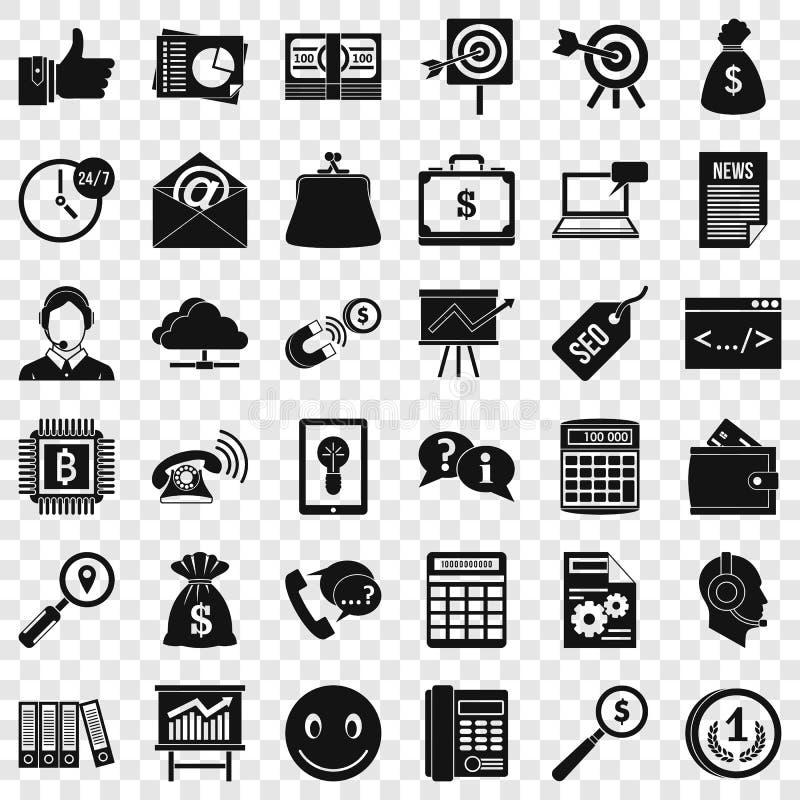 El márketing en iconos de Internet fijó, estilo simple ilustración del vector