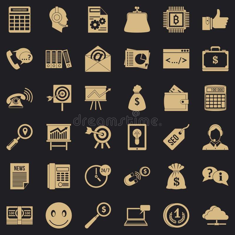 El márketing en iconos de Internet fijó, estilo simple libre illustration