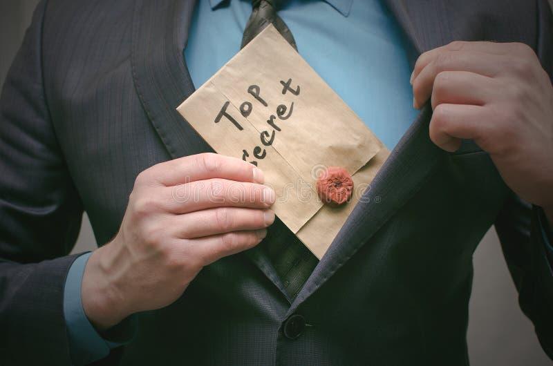 El máximo secreto documenta concepto Información importante estupenda Mensaje confidencial foto de archivo libre de regalías