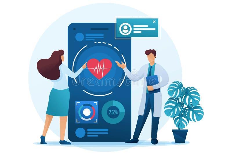 El médico muestra al paciente cómo utilizar la aplicación para mantener la salud Carácter plano 2D Concepto de diseño web stock de ilustración