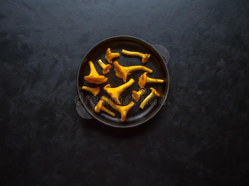 El mízcalo fresco prolifera rápidamente en una cacerola en una tabla negra imágenes de archivo libres de regalías