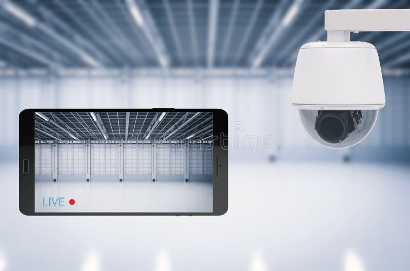 El móvil conecta con la cámara de seguridad ilustración del vector